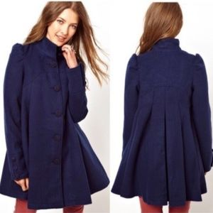 Free People Navy Blue Swing/Trench/ Pea Coat * 4